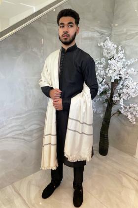 Men's light weight cream embroidered wool shawl
