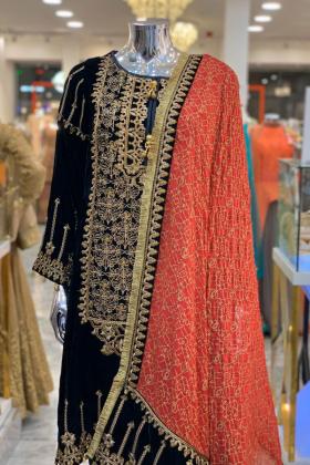 Black embroided velvet dress
