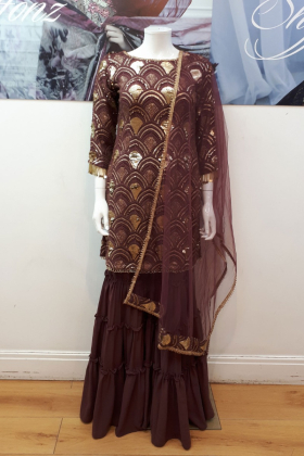 3 Piece sequenced garara suit in plum