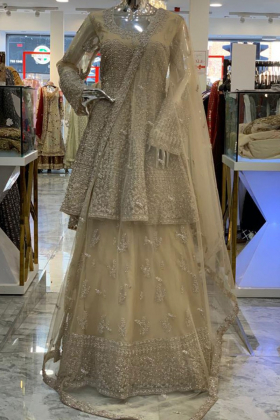 Brown heavy embroidered luxury lengha suit
