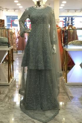 Grey silver tila work luxury partywear