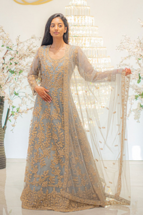 Green luxury embroidered long gown