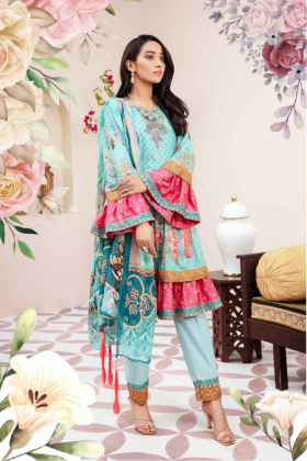 Ivana peplum 3 piece luxury embroidered lawn suit in teal