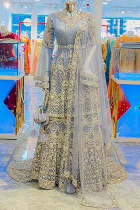 Bridal 3 piece luxury embroidered grey lengha suit