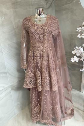 3 Piece luxury embroidered net gharara suit in dustypink