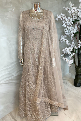 Beautiful luxury embroidered net dori work long gown in beige