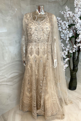 Beautiful luxury embroidered net dori work long gown in cream