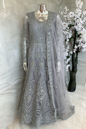 Luxury embroidered net dori work long gown in grey