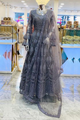 Grey dori work luxury maxi dress