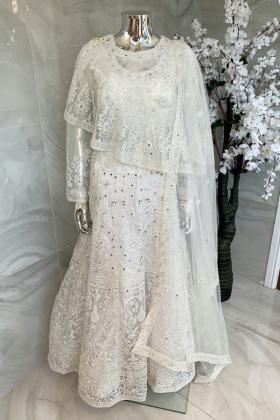 Luxury embroidered net dori work cape gown in white