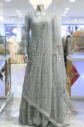 Grey luxury embroidered long gown