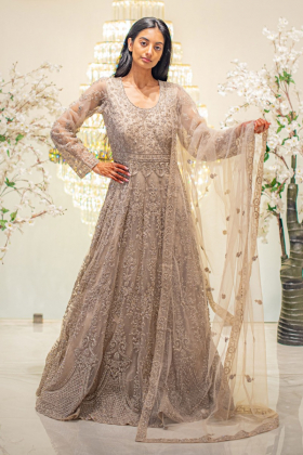 Luxury embroidered long 3 piece beige gown