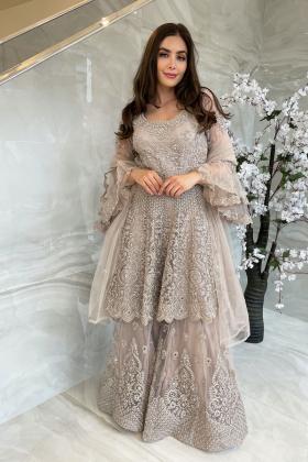 3 Piece luxury embroidered net garara suit