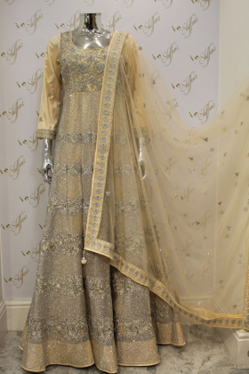 Cream Heavy Front And Back Embroidery Three Piece Party And Wedding Outfit