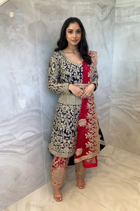 3 Piece luxury embroidered long back tail suit in navy and pink