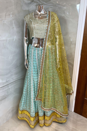 3 Piece luxury embroidered lengha choli in sky blue and yellow