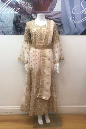 Light pink heavy embroidery partywear