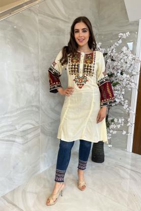 Ethnic lawn cream embroidered peplum kurti