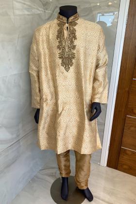Gold men's banarsi gold 2 piece suit