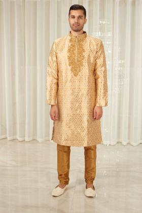 2 Piece men's banarsi suit in gold