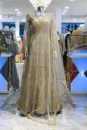 Beige luxury embroidered long gown