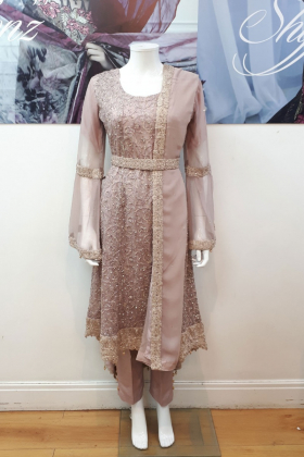 Pink party outfit with dori thread work