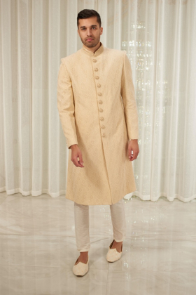 Men's luxury embroidered sherwani in cream