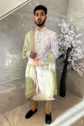 Men's luxury embroidered sherwani suit in light mint