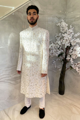 Off-white men's luxury embroidered sherwani suit