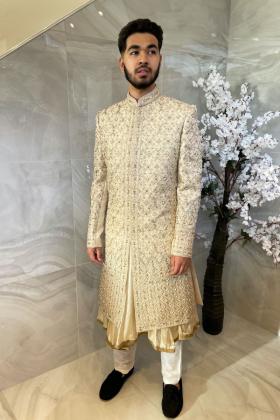 Men's luxury embroidered sherwani suit in light beige
