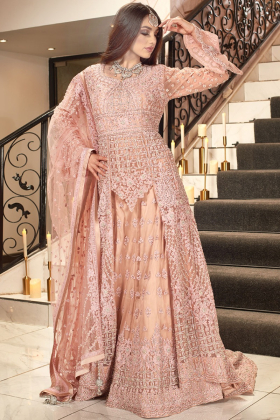 Pink Net Material Party Wear