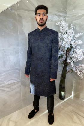Luxury embroidered men's sherwani suit in black