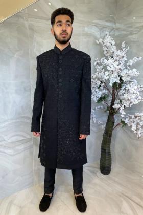 Men's luxury embroidered sherwani suit in black