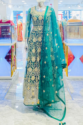 3 Piece luxury embroidered dark green net gown