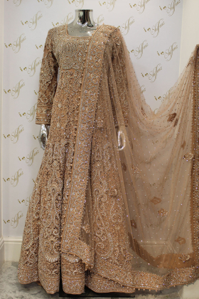 Peach Heavy Embroidery Diamond And Pearl Work Long Net Bridal Gown Dress