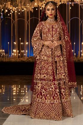 Gold Maroon Bridal Dress