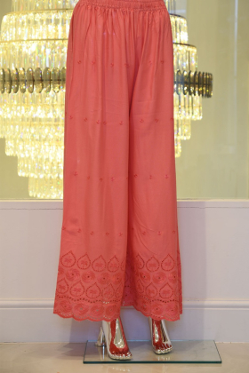 Linen pink trousers with threadwork