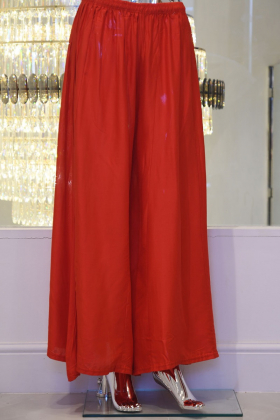 Red linen flarred trousers
