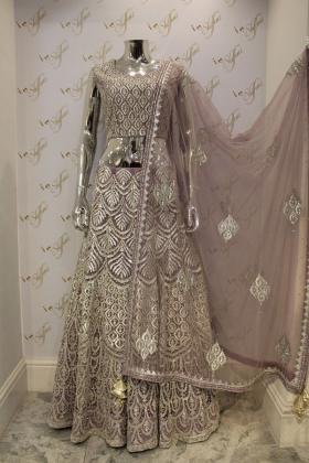 Lilac net top and lengha party outfit