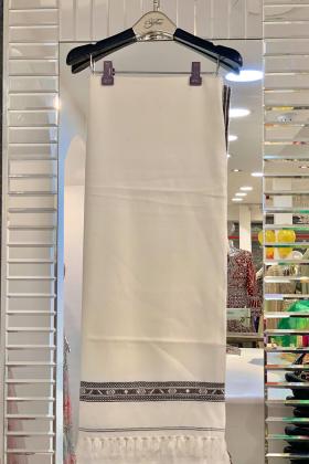 Men embroidered shawl in cream
