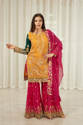 3 Piece mehndi embroidered suit in mustard