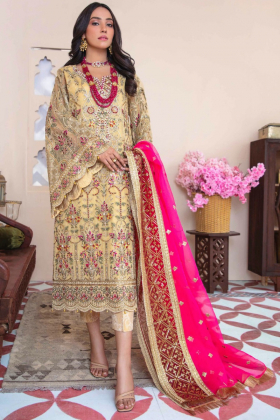 Ivana 3 piece luxury embroidered suit in gold and pink