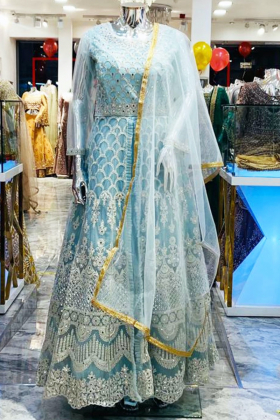 Beautiful luxury embroidered long gown in blue