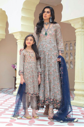 Ivana kids 3 piece chiffon embroidered suit in grey