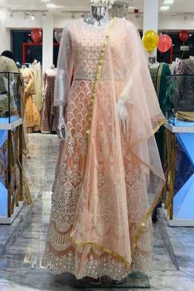 Beautiful luxury embroidered long gown in pink