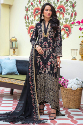 Ivana 3 piece luxury chiffon embroidered suit in black