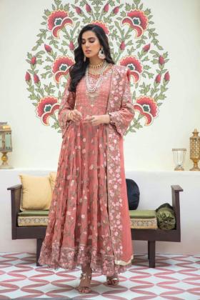 Ivana 3 piece chiffon luxury embroidered suit in dark peach