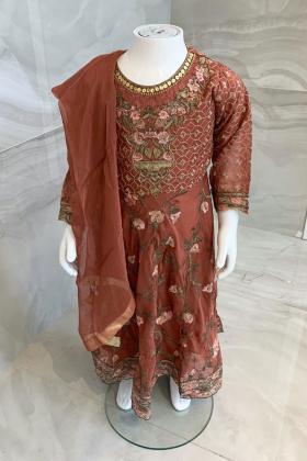 Ivana 3 piece kids luxury embroidered chiffon suit in dark peach