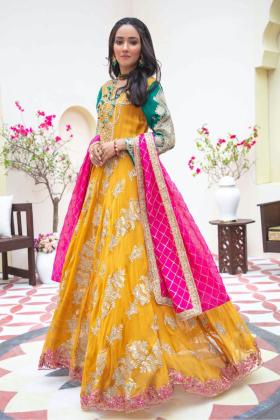Ivana 3 piece luxury embroidered chiffon mustard suit