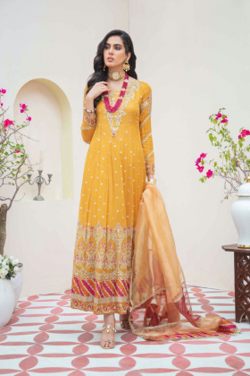 Ivana 3 piece chiffon luxury embroidered suit in mustard